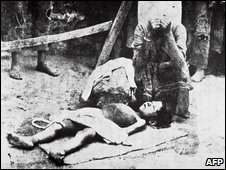 An Armenian woman mourns a young boy during the Ottoman deportations of 1915