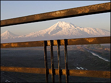Mount Ararat, the Turkish mountain revered by Armenians, seen from across the border in Armenia  (pic: Ruben Mangasaryan)