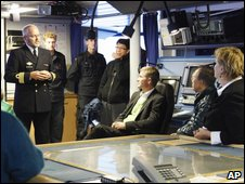 Ban Ki-moon (second right) heads into the Arctic on a Norwegian vessel