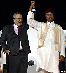 Abdelbaset Ali al-Megrahi with Col Gadaffi's son, Saif al-Islam