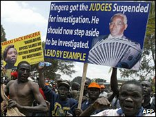 Campaigners protest against Aaron Ringera (File photo)