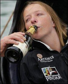 Hilary Lister celebrates her arrival in Dover
