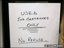 Bin for used printer cartridges