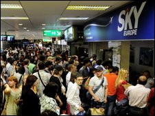 Queues for information at Bratislava airport