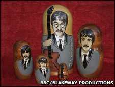 Babushka dolls featuring the Beatles