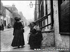 Archive image of women on Angel Street in Manchester