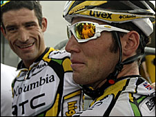 George Hincapie (l) and Mark Cavendish