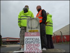 Picket line at Dorcan mail centre