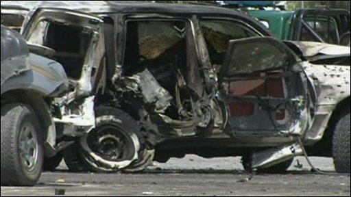Bomb-damaged car