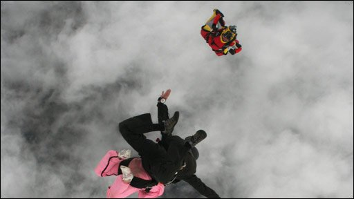Skydiver Paul Lewis filming the tandem jump