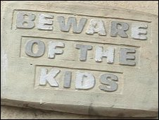 Beware Of The Kids sign