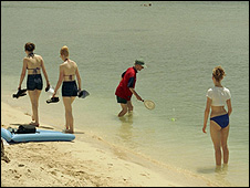 Bathers on beach