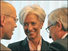 uxembourg Prime Minister and Eurogroup head Jean Claude Juncker (R), French Finance Minister Christine Lagarde (C) and German State Secretary of Finance Joerg Asmussen