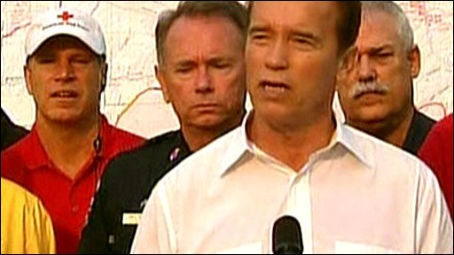 Governor of California Arnold Schwarzenegger holds a briefing
