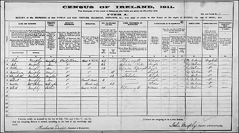 A typical census form from 1911