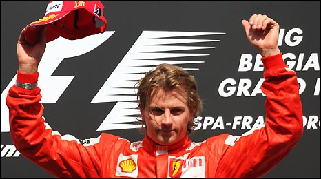 Ferrari's Kimi Raikkonen celebrates victory in the Belgian Grand Prix