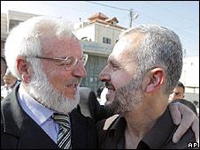 Abdel Aziz Duaik, left, greets released Hamas lawmaker Nasser Abed Jawad 2.9.09