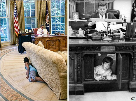US President Barack Obama and Sasha Obama (L) and US President John F Kennedy with John F Kennedy Jnr (1 August 1963)