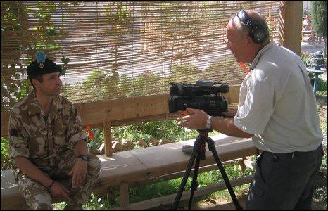Mervyn talks to Col Gerry Mullen who works in the information unit at brigade headquarters in Lash Gar Gah