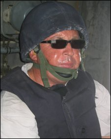 Feel the heat: Mervyn swelters in the 40degree heat of Helmand province