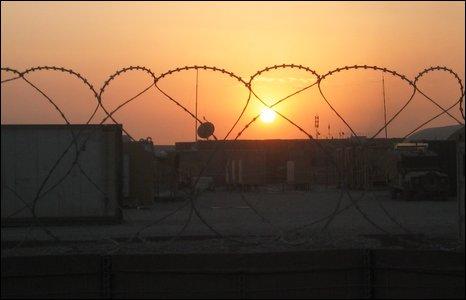 The sun sets over Camp Bastion?