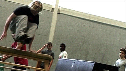 Kids learning Parkour in a gym