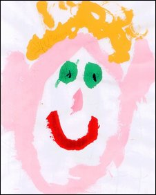 Child's painting of a face