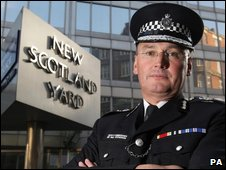Commissioner Sir Paul Stephenson outside Scotland Yard