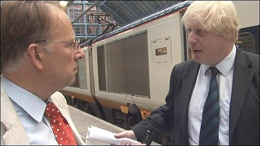 Michael Crick and Boris Johnson