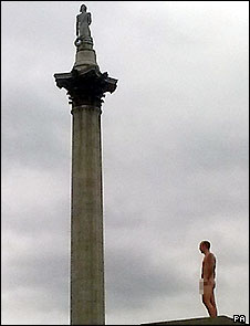 Nelson's Column and nude man