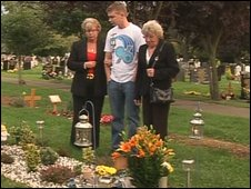 Adam Taylor's family at his graveside