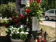 Shrine to Ignacio Uria Mendizabal, 71, killed by ETA