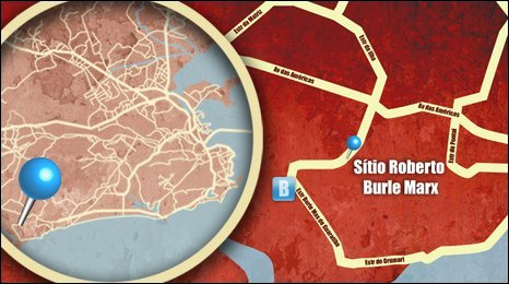 Map shows the location of the Sitio Roberto Burle Marx