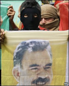 Kurdish demonstator with image of  Abdullah Ocalan (Library)