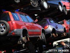 Cars await recycling