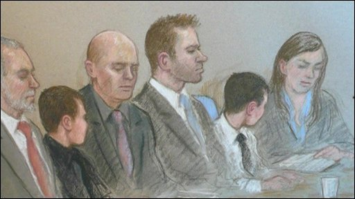 Court artist's drawing of Edlington attackers in court