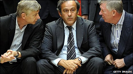 (l-r) Arsenal boss Arsene Wenger, Uefa president Michel Platini and Manchester United manager Sir Alex Ferguson at a meeting in Nyon on Thursday