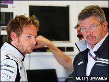Jenson Button (l) and Ross Brawn