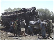 Site of the tanker strike in Kunduz province