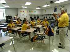 An anti-gang worker talks to a group of students in Laredo, Texas.