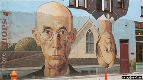 An artists impression of Grant Wood's American Gothic