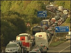 Traffic jam on M23 slip road to Gatwick