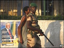 Gabonese soldier and resident after post-election violence