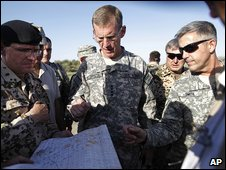 Gen Stanley McChrystal at the attack site 5.5.09