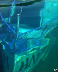 "The wreckage of the sunken boat ""Ilinden"" is seen just few meters below the surface of Lake Ohrid, south-west Macedonia"