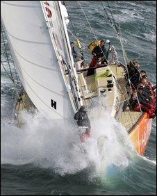 Clipper yacht sailing near Hull