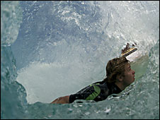 Lyndon Wake in a tube (Ben Selway)