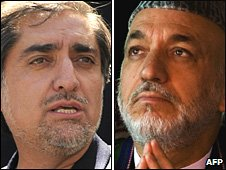 Incumbent Hamid Karzai (right) and his main presidential challenger Abdullah Abdullah