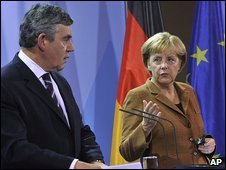 German Chancellor Angela Merkel and British Prime Minister Gordon Brown held a joint press conference on Afghanistan