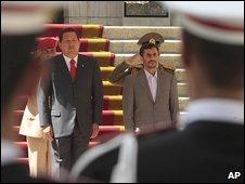 Venezuelan President Hugo Chavez and Iranian President Mahmoud Ahmadinejad